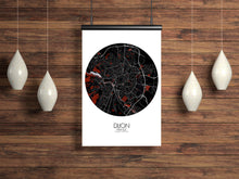 Load image into Gallery viewer, Mapospheres Dijon Red dark round shape design poster city map