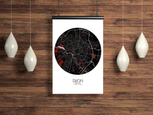Mapospheres Dijon Red dark round shape design poster city map