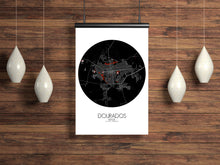 Load image into Gallery viewer, Mapospheres Dourados Red dark round shape design poster city map