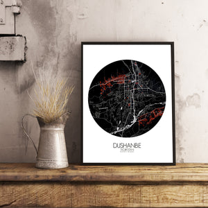 Mapospheres Dushanbe Red dark round shape design poster city map