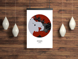 Mapospheres Fethiye Red dark round shape design poster city map