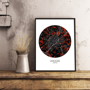 Mapospheres Limoges Red dark round shape design poster city map