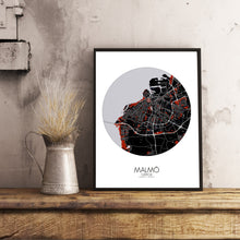 Load image into Gallery viewer, Mapospheres Malmo Red dark round shape design poster city map