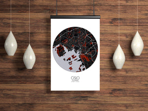 Mapospheres New York Red dark round shape design poster city map