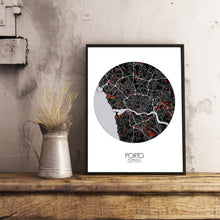 Load image into Gallery viewer, Mapospheres Porto Red dark round shape design poster city map