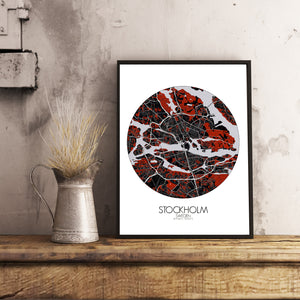 Mapospheres stockholm Red dark round shape design poster city map