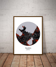 Load image into Gallery viewer, Mapospheres Tallinn Red dark round shape design poster city map