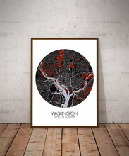 Load image into Gallery viewer, Mapospheres Washington Red dark round shape design poster city map