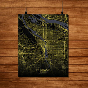 Mapospheres Portland Night Design full page design poster city map