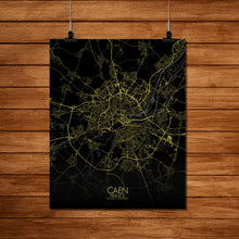 Load image into Gallery viewer, Mapospheres Caen Night Design full page design poster city map