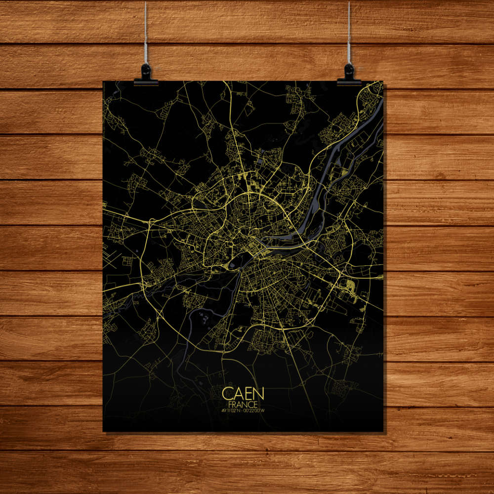 Mapospheres Caen Night Design full page design poster city map