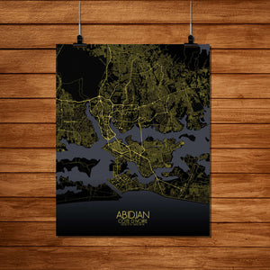 Mapospheres Abidjan Night Design full page design poster city map