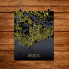 Load image into Gallery viewer, Mapospheres Siingapore Night Design full page design poster city map
