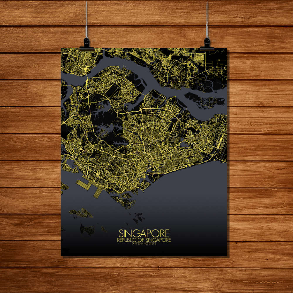Mapospheres Siingapore Night Design full page design poster city map