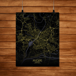 Mapospheres angers Night Design full page design poster city map