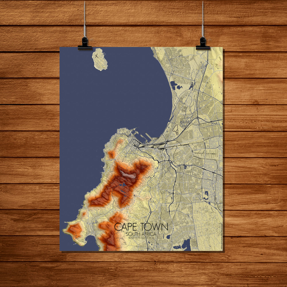 Mapospheres Cape Town Elevation map full page design poster city map