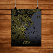 Load image into Gallery viewer, Mapospheres Boston Night Design full page design poster city map