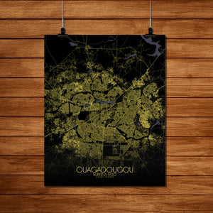 Mapospheres Ouagadougou Night Design full page design poster city map