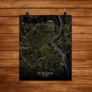 Mapospheres Bordeaux Night Design full page design poster city map