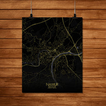 Load image into Gallery viewer, Mapospheres Namur Night Design full page design poster city map
