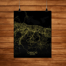 Load image into Gallery viewer, Mapospheres Caracas Night Design full page design poster city map