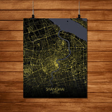 Load image into Gallery viewer, Mapospheres Shanghai Night Design full page design poster city map