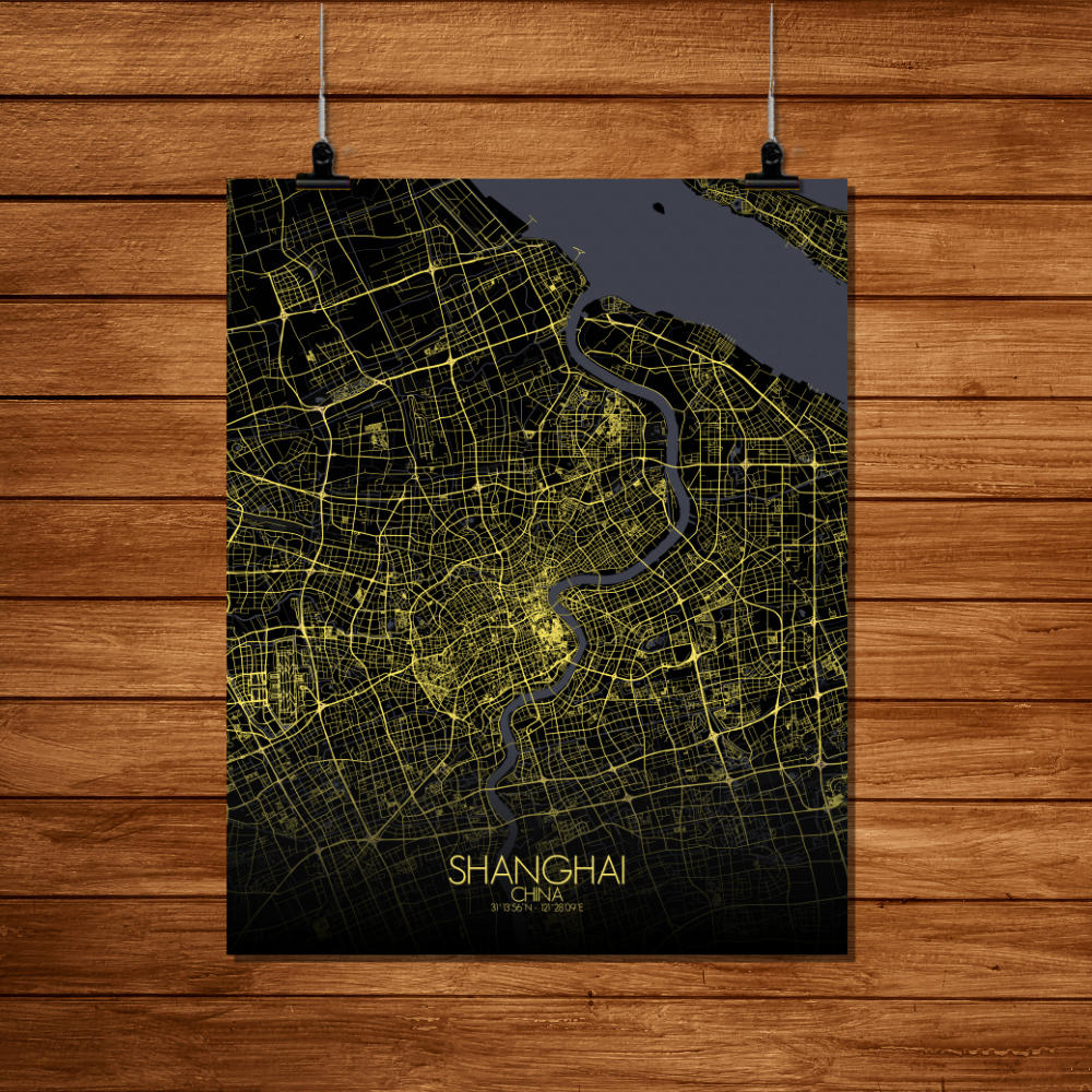 Mapospheres Shanghai Night Design full page design poster city map