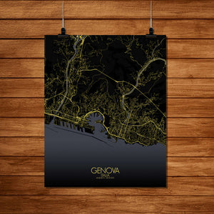 Mapospheres Genoa Night Design full page design poster city map