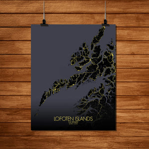 Mapospheres Lofoten Night Design full page design poster city map