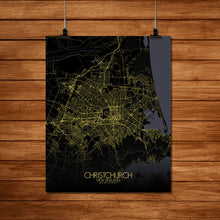 Load image into Gallery viewer, Mapospheres Christchurch Night Design full page design poster city map