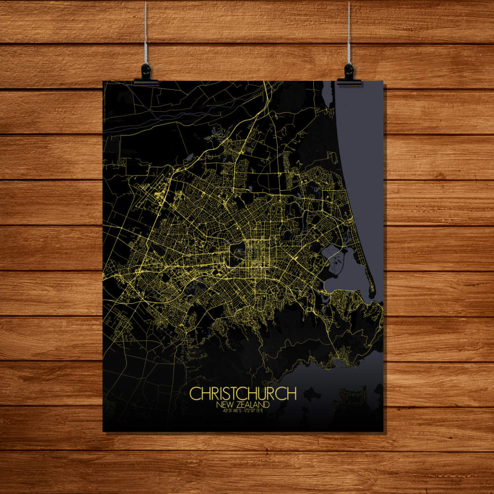 Mapospheres Christchurch Night Design full page design poster city map