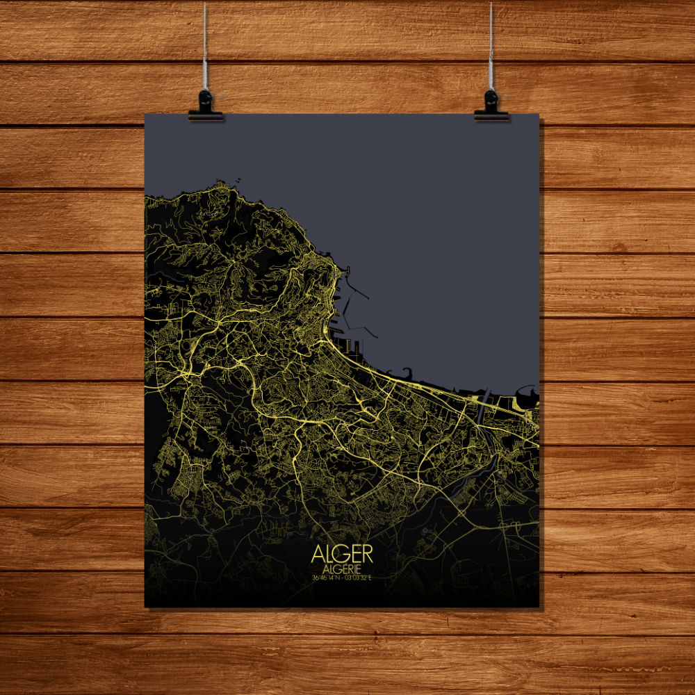 Mapospheres Algiers Night full page design canvas city map