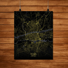 Load image into Gallery viewer, Mapospheres Tours Night Design full page design poster city map