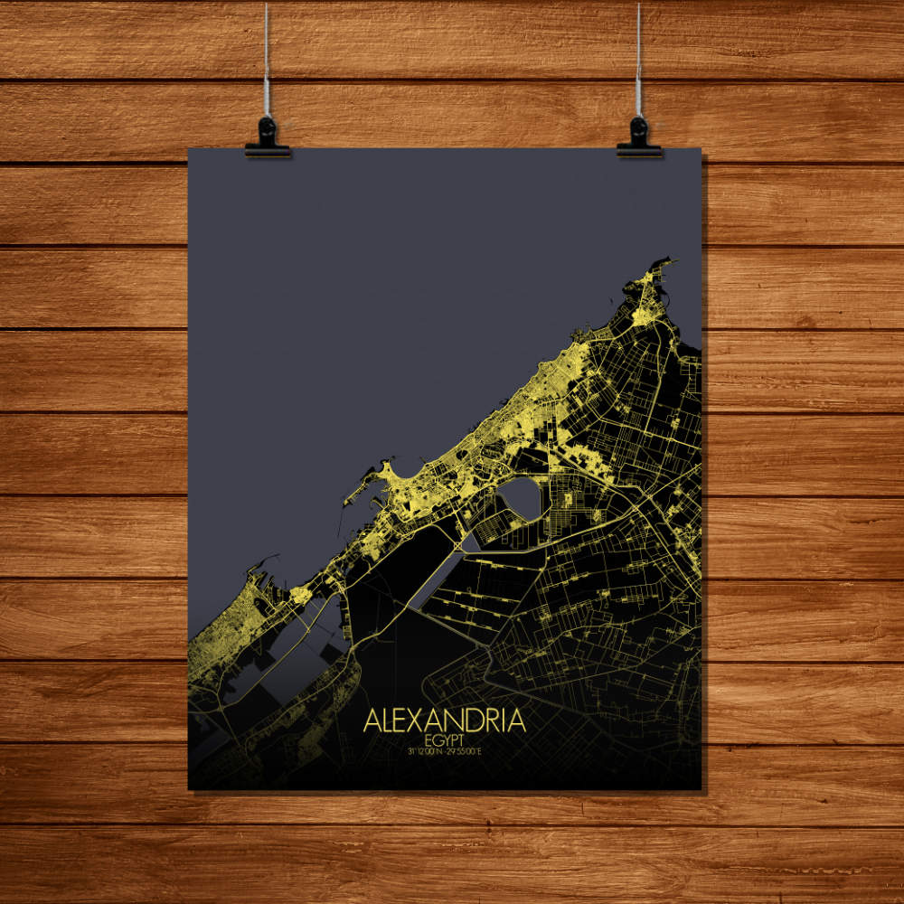 Mapospheres Alexandria Night Design full page design poster city map