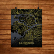 Load image into Gallery viewer, Mapospheres Saint Petersburg Night Design full page design poster city map