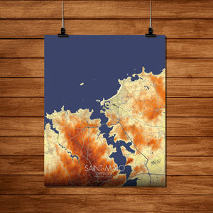 Mapospheres Saint Malo Elevation Map full page design poster city map