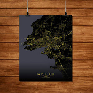 Mapospheres La Rochelle Night Design full page design poster city map