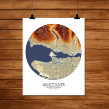 Load image into Gallery viewer, Mapospheres Vancouver round shape design poster elevation map