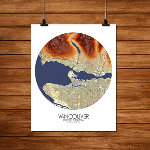 Mapospheres Vancouver round shape design poster elevation map