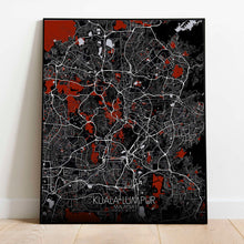 Load image into Gallery viewer, Mapospheres Kuala Lumpur KL Red dark full page design poster city map
