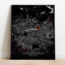 Load image into Gallery viewer, Mapospheres Ouagadougou Red dark full page design poster city map