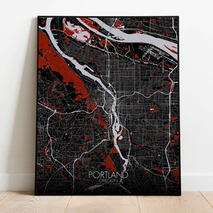 Mapospheres Portland Red dark full page design poster city map