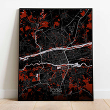 Load image into Gallery viewer, Mapospheres Tours Red dark full page design poster city map