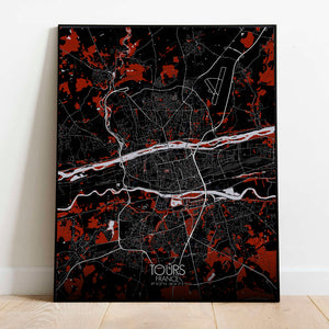 Mapospheres Tours Red dark full page design poster city map