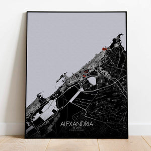 Mapospheres Alexandria Red dark full page design poster city map