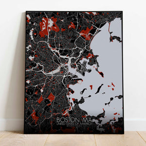 Mapospheres Boston Red dark full page design poster city map