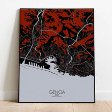 Load image into Gallery viewer, Mapospheres Genoa Red dark full page design poster city map