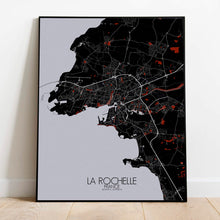 Load image into Gallery viewer, Mapospheres La Rochelle Red dark full page design poster city map
