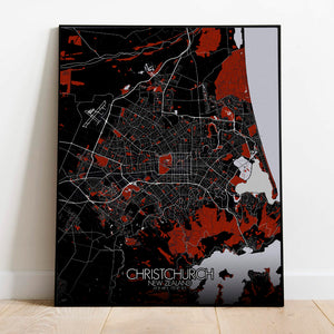 Mapospheres Christchurch Red dark full page design poster city map