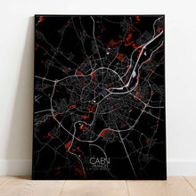Load image into Gallery viewer, Mapospheres Caen Red dark full page design poster city map
